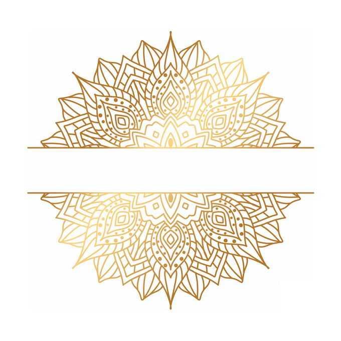 金色宗教复古复杂花纹装饰标题框1160946矢量图片免抠素材