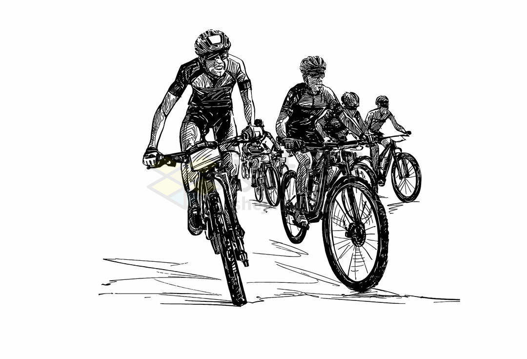 一群骑手正在骑自行车正面手绘线条素描速写插画3849140矢量图片免抠素材