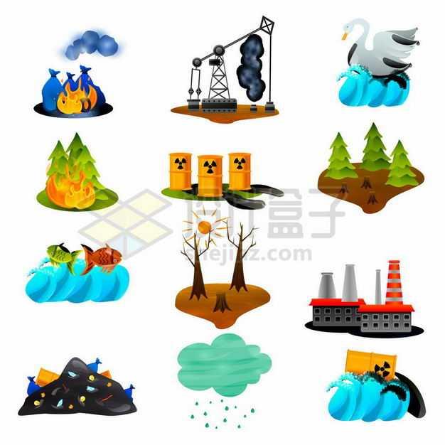 垃圾石油泄漏森林火灾化工污染滥砍滥伐等环境污染7676787矢量图片免抠素材