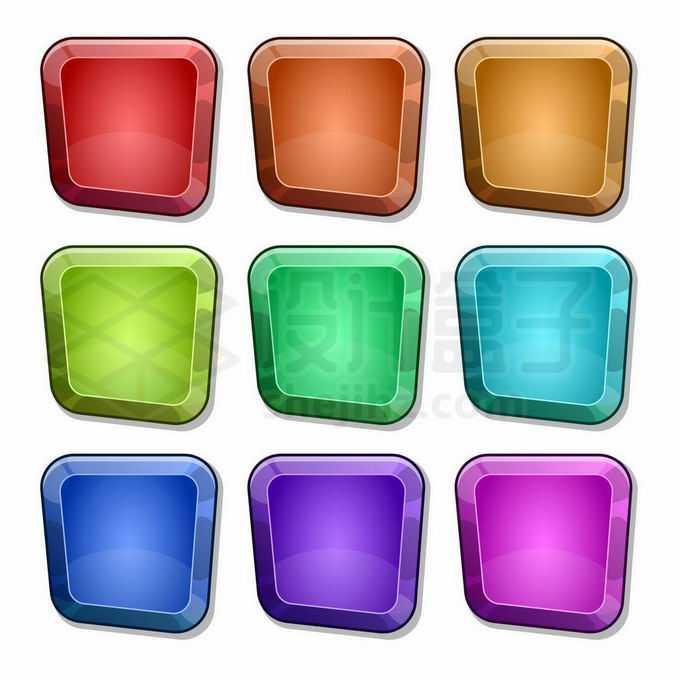 9款彩色宝石形状水晶按钮卡通游戏按钮6268606矢量图片免抠素材免费下载