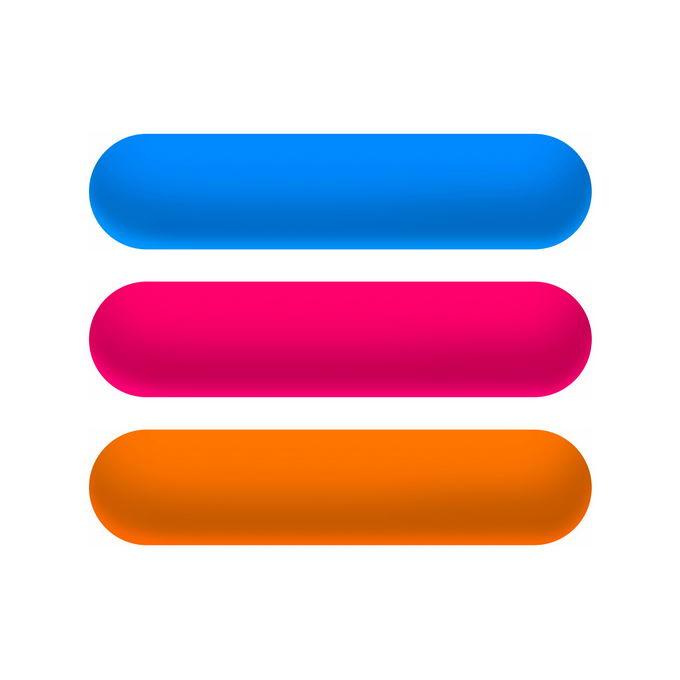 蓝色红色和橙色渐变色圆角按钮8147119免抠图片素材免费下载 按钮元素-第1张