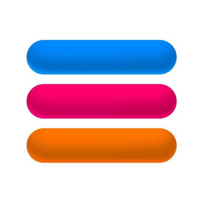 蓝色红色和橙色渐变色圆角按钮8147119免抠图片素材免费下载