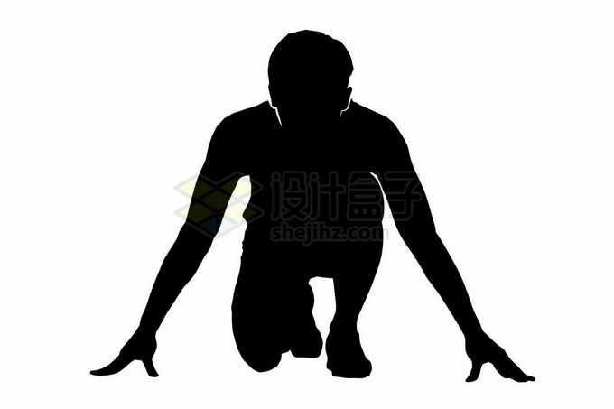 半跪在地上准备起跑动作的运动员剪影4758915矢量图片免抠素材免费下载