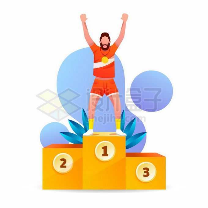 站在领奖台获得冠军的卡通运动员8038181矢量图片免抠素材