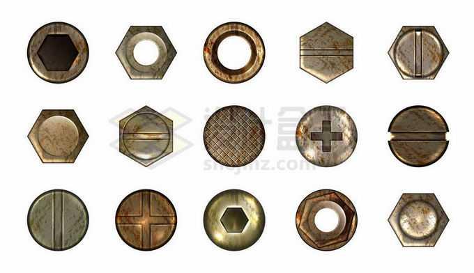 15款生锈的铜色金属螺丝钉螺帽形状7580022矢量图片免抠素材