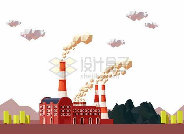 低多边形风格冒烟的工厂厂房和烟囱2506564矢量图片免抠素材