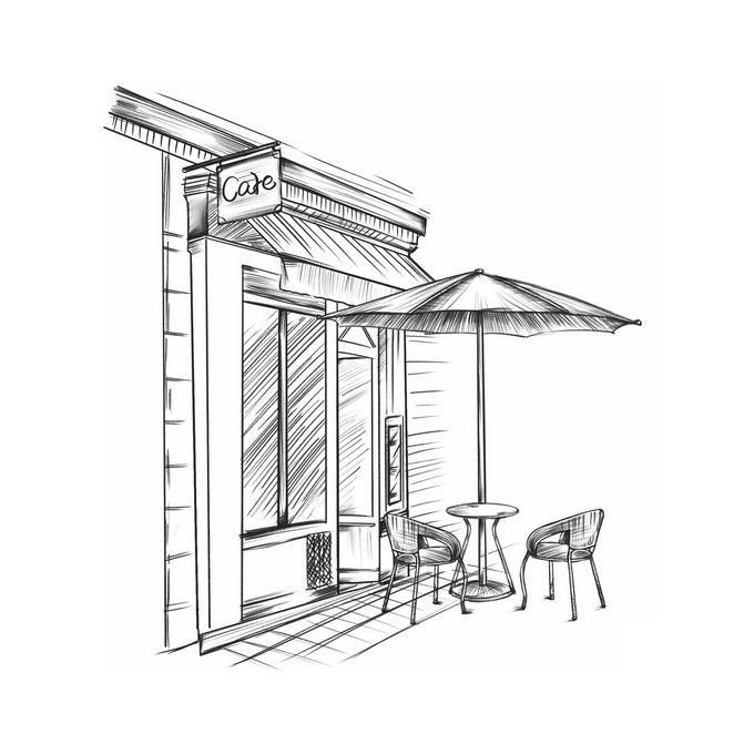 街头咖啡店外面的遮阳伞和桌椅手绘线条涂鸦插画4523611图片免抠素材免费下载 建筑装修-第1张