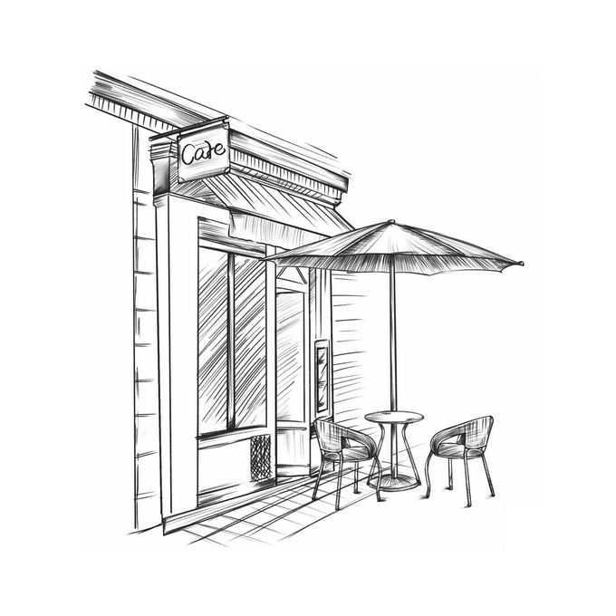 街头咖啡店外面的遮阳伞和桌椅手绘线条涂鸦插画4523611图片免抠素材免费下载