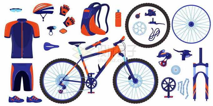 公路运动自行车和轮胎速干衣头盔背包等公路竞赛装备7250444矢量图片免抠素材