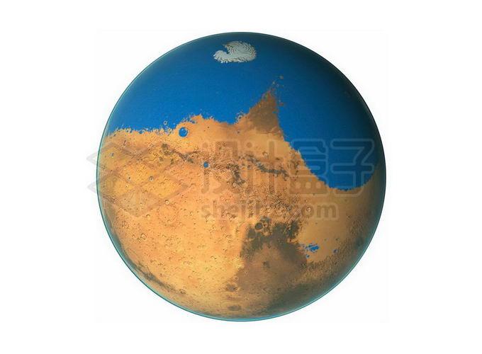 表面被海洋和湖泊覆盖液态水的火星想象图png免抠高清图片素材 科学地理-第1张