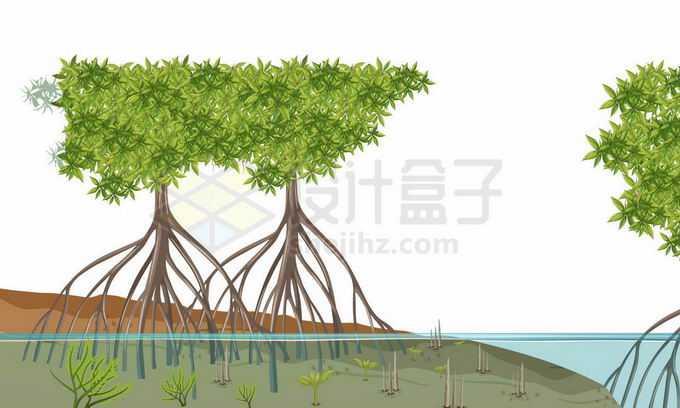 河边水边生长的红树林风景5119734矢量图片免抠素材免费下载