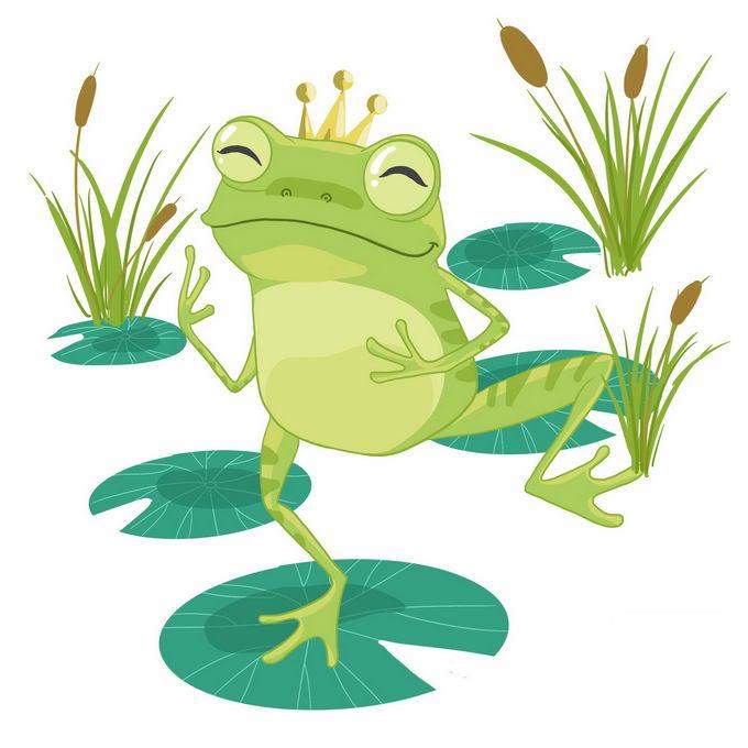 在荷叶上跳舞的卡通青蛙王子4665966免抠图片素材 生物自然-第1张