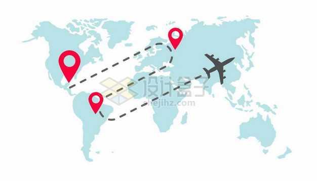 淡蓝色世界地图上飞行的黑色飞机和路线图案环球旅行插画9684263矢量图片免抠素材