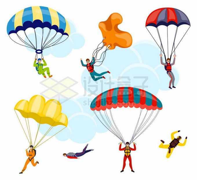 各种卡通极限运动员跳伞降落伞3089476矢量图片免抠素材免费下载