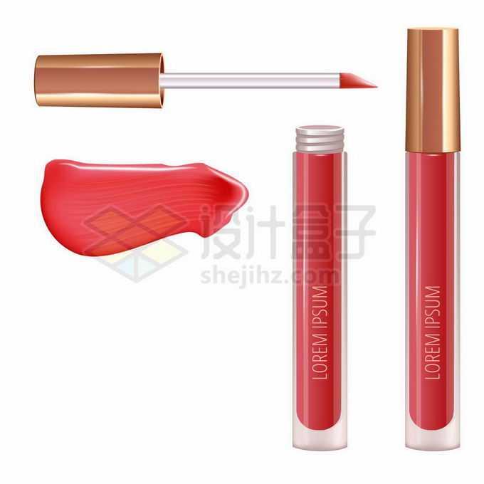 红色唇釉口红化妆品和涂抹效果9669065矢量图片免抠素材
