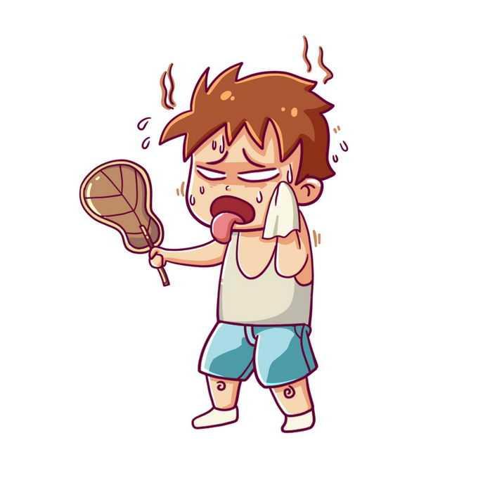 炎炎夏日里一遍擦汗一遍摇着蒲扇的卡通年轻人9695757图片免抠素材免费下载