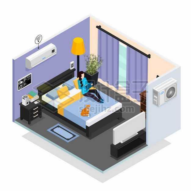 2.5D风格温馨的房间卧室装修和空调系统6254107矢量图片免抠素材