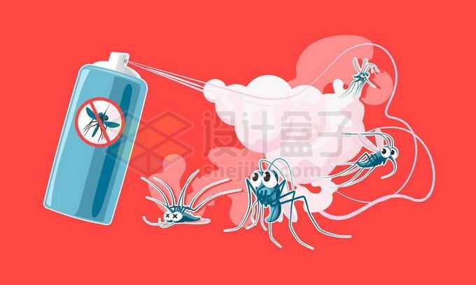 杀虫剂喷雾灭杀蚊子插画1714036矢量图片免抠素材免费下载
