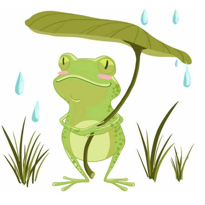 可爱的卡通青蛙撑着一片绿叶当雨伞挡雨3990288免抠图片素材