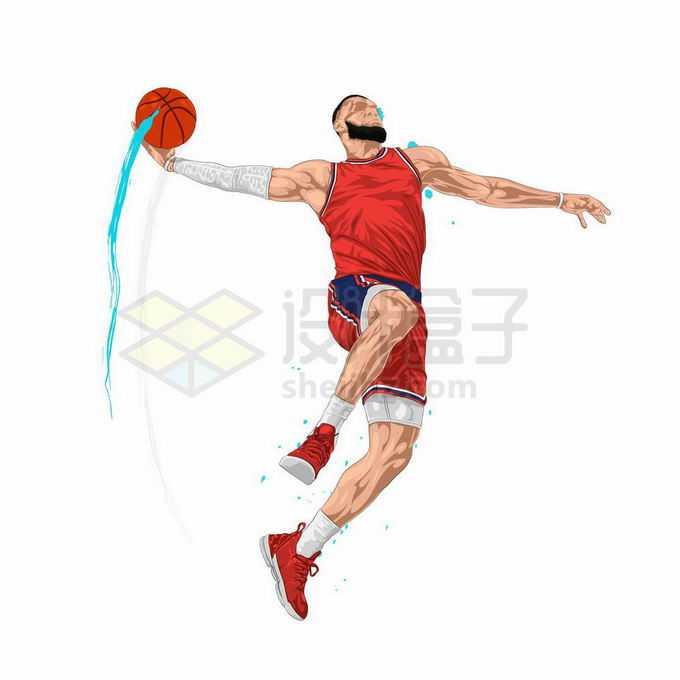动感手绘风格橙色运动员投篮灌篮扣篮体育插画7625447矢量图片免抠素材免费下载