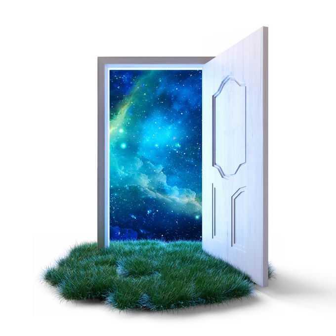 打开门看到的宇宙发挥想象力抽象插画9472317图片免抠素材免费下载