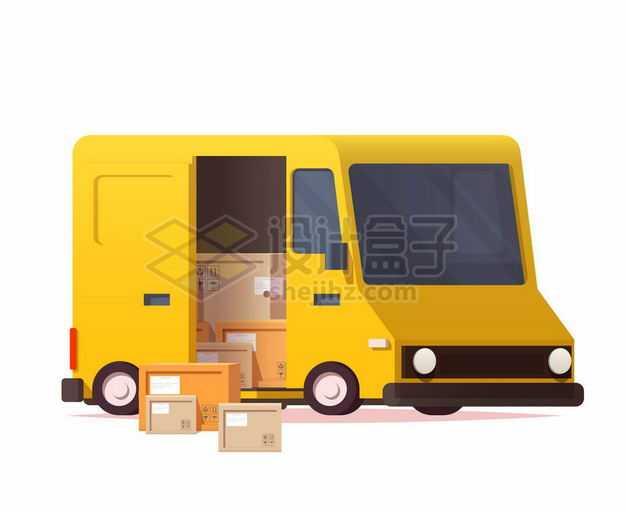 黄色的卡通面包车正在运载货物1002716矢量图片免抠素材