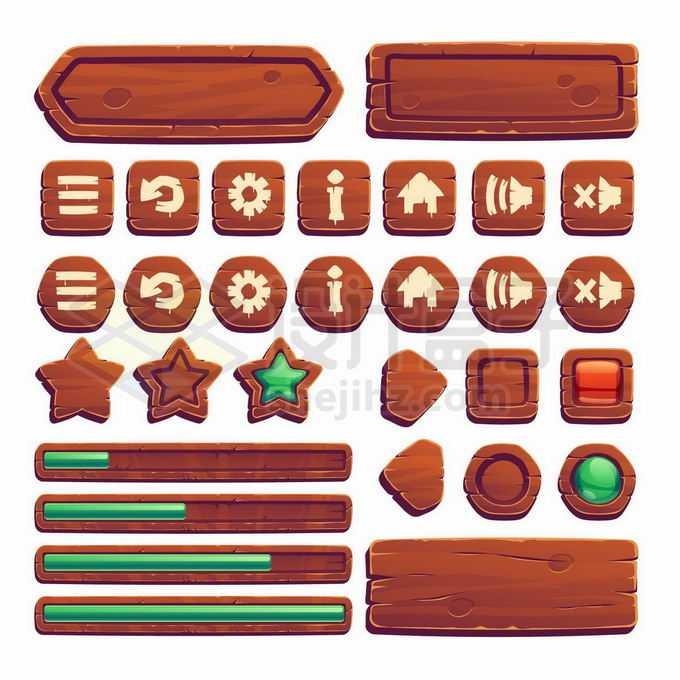 各种深色木头红木风格红绿宝石的游戏按钮设计进度条信息框1446024矢量图片免抠素材