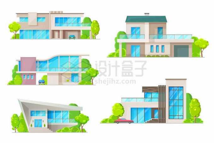 5款蓝色玻璃窗户的别墅小楼1366144矢量图片免抠素材免费下载