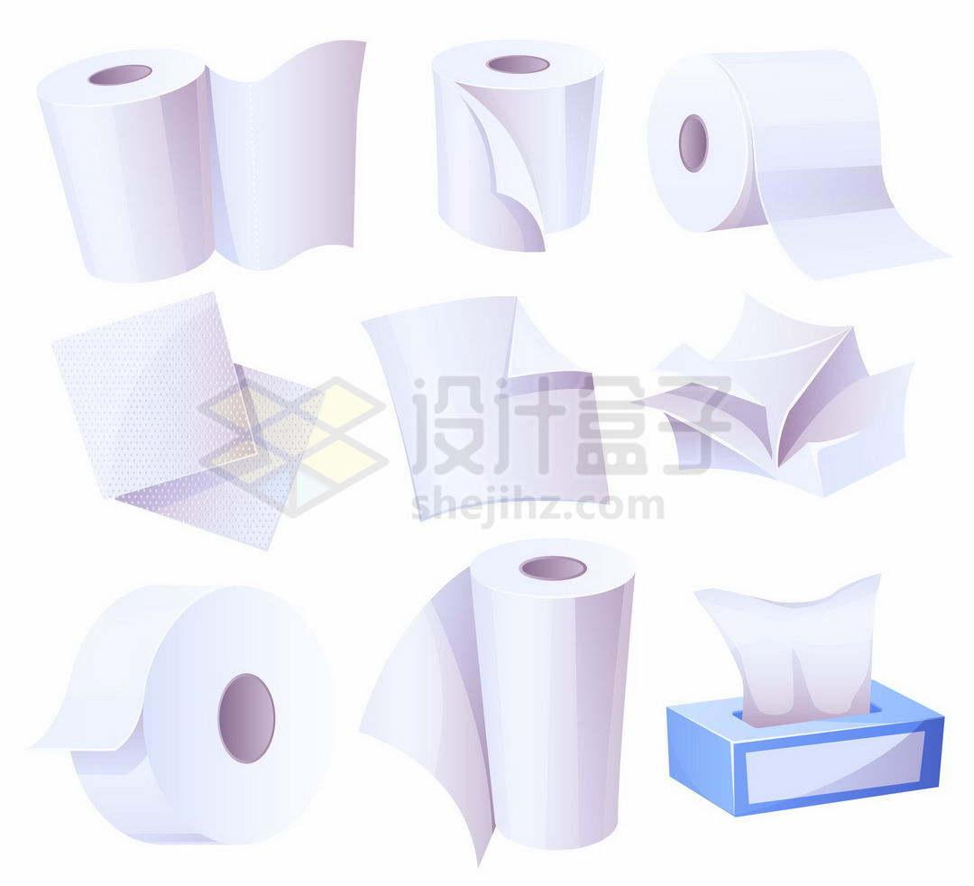 各种卷纸草纸卫生纸巾和盒子里的抽纸9163547矢量图片免抠素材