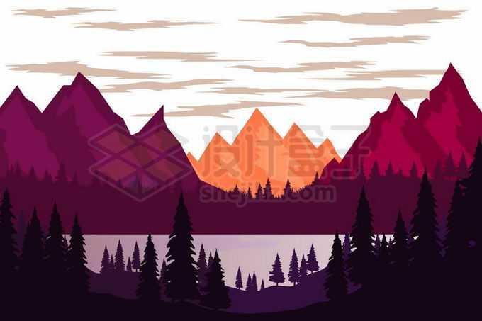 夕阳或日出照射下的火红的山峰高山和近处的湖泊森林剪影风景2083625矢量图片免抠素材免费下载