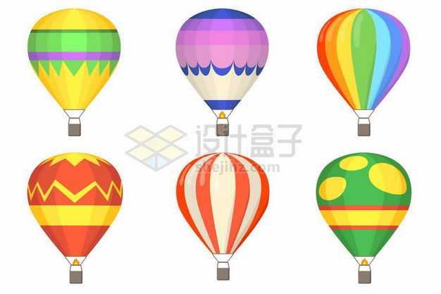 6款彩色图案的卡通热气球7592665矢量图片免抠素材