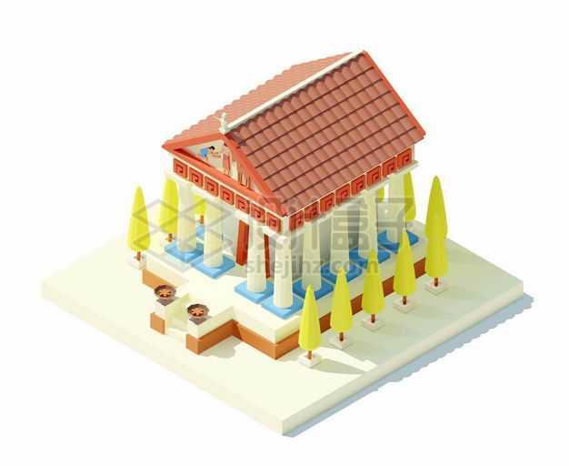 2.5D风格希腊神殿帕特农神庙古希腊建筑1450481矢量图片免抠素材
