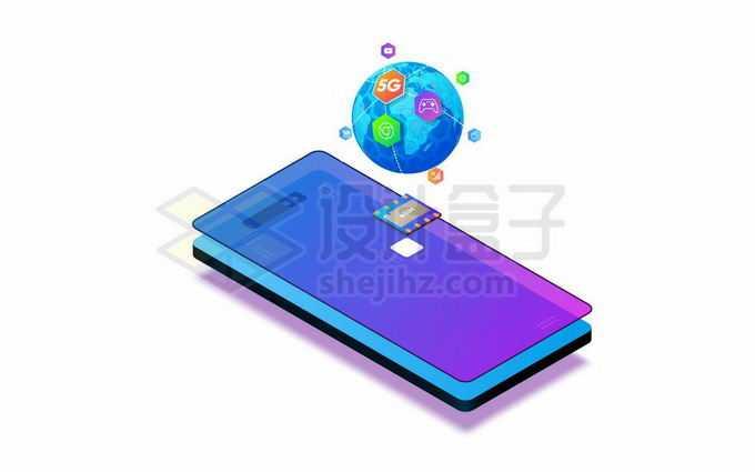 5G手机上的地球和相关应用5620312矢量图片免抠素材免费下载