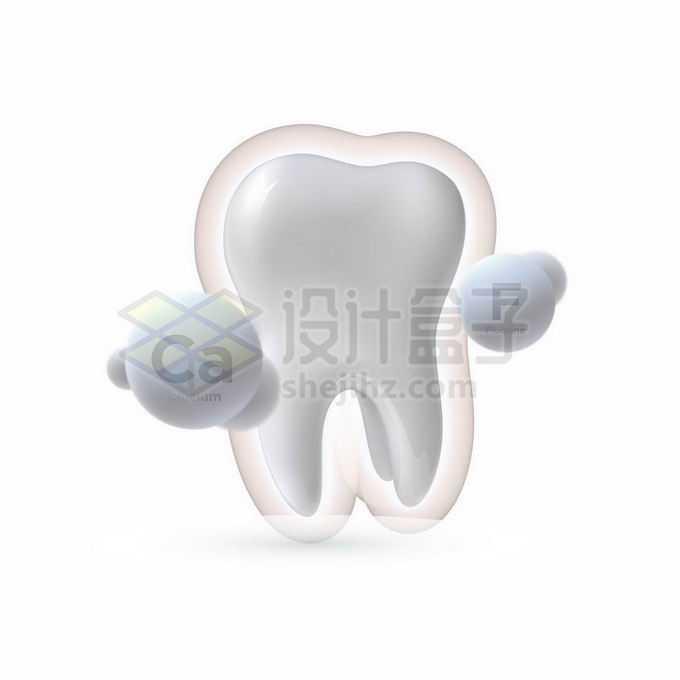 3D立体洁白牙齿和钙质氟元素牙齿保健9162189矢量图片免抠素材