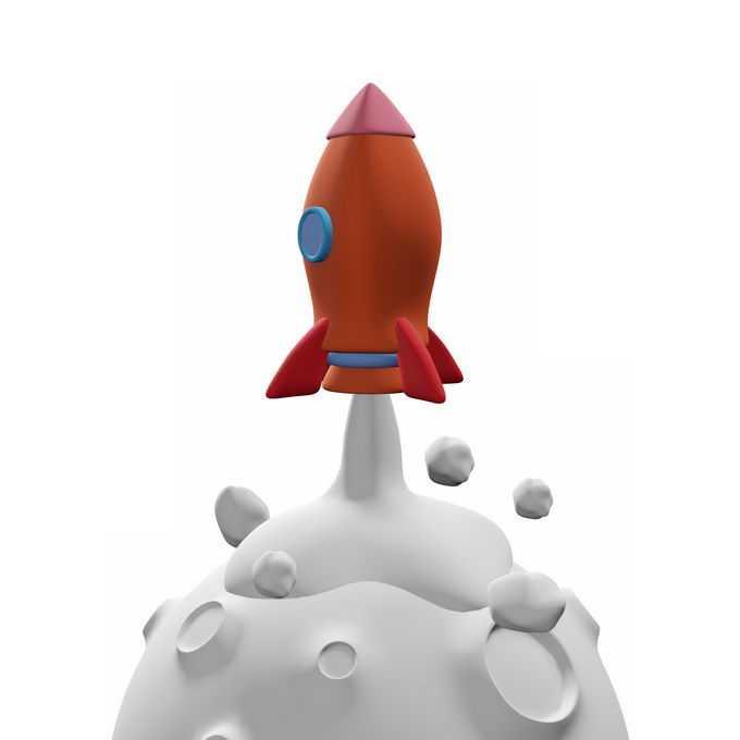3D立体白色星球上起飞的红色火箭插画2729839图片免抠素材免费下载