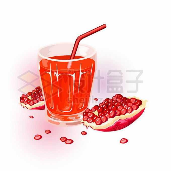 剥开的石榴美味水果和一杯石榴汁红色美味果汁4282355矢量图片免抠素材