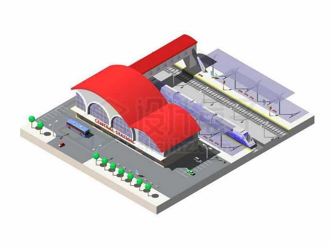 2.5D风格红顶的高铁站火车站2176355矢量图片免抠素材免费下载