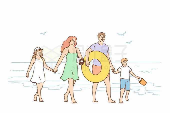 一家四口手牵手在海边游玩手绘线条插画9135116矢量图片免抠素材免费下载