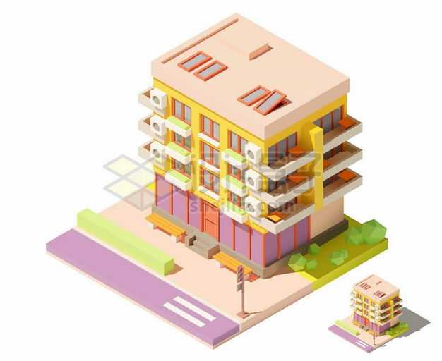 2.5D风格彩色的四层楼房居民楼建筑5814430矢量图片免抠素材
