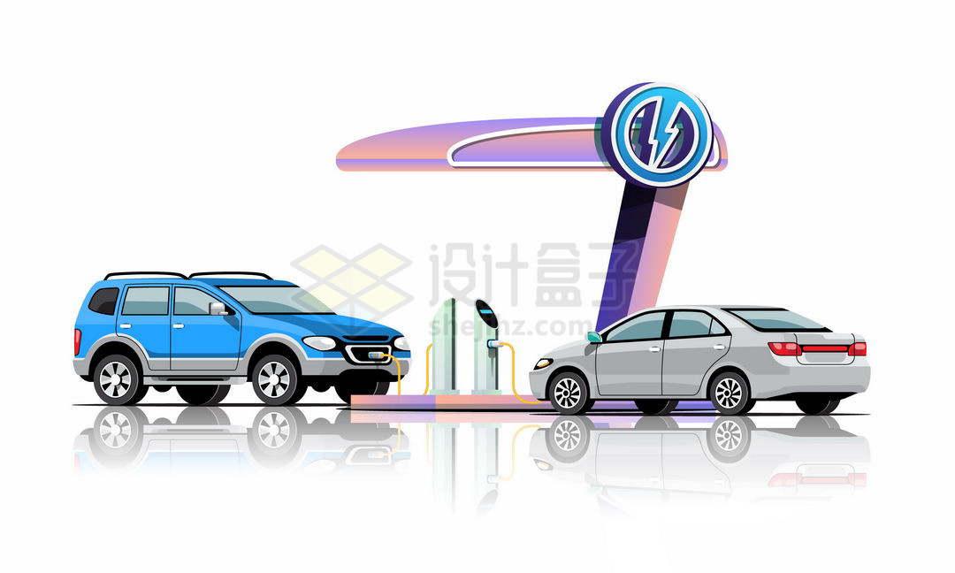 正在充电的两辆电动汽车3345893矢量图片免抠素材