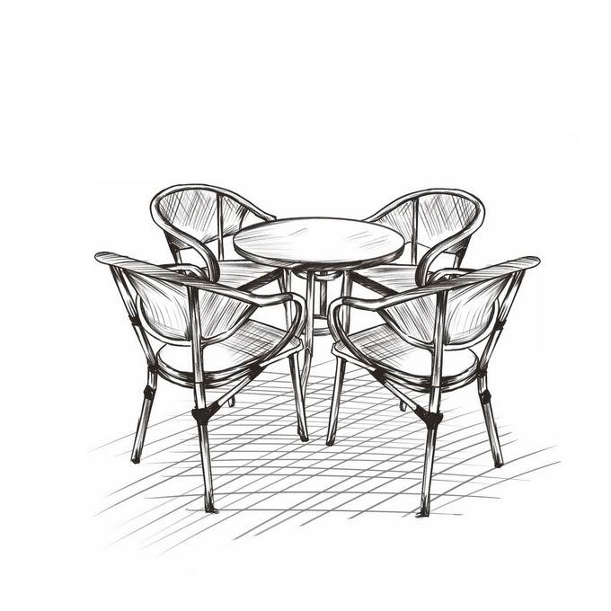 户外休闲桌子和椅子手绘线条涂鸦插画1500339图片免抠素材免费下载 插画-第1张
