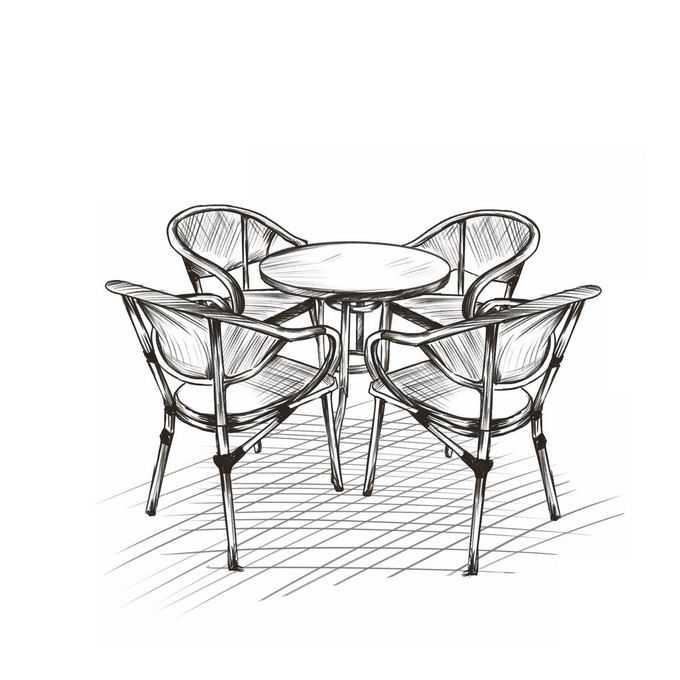 户外休闲桌子和椅子手绘线条涂鸦插画1500339图片免抠素材免费下载
