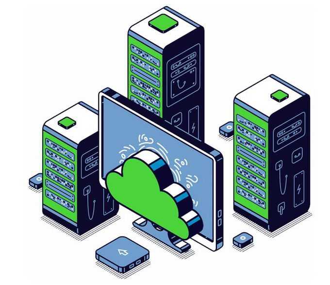 2.5D风格绿黑色电脑显示器和服务器云计算超级计算机技术1031709png图片素材