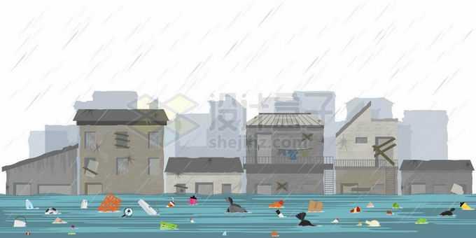 特大暴雨后洪水淹没街道和漂浮的垃圾8749583矢量图片免抠素材免费下载