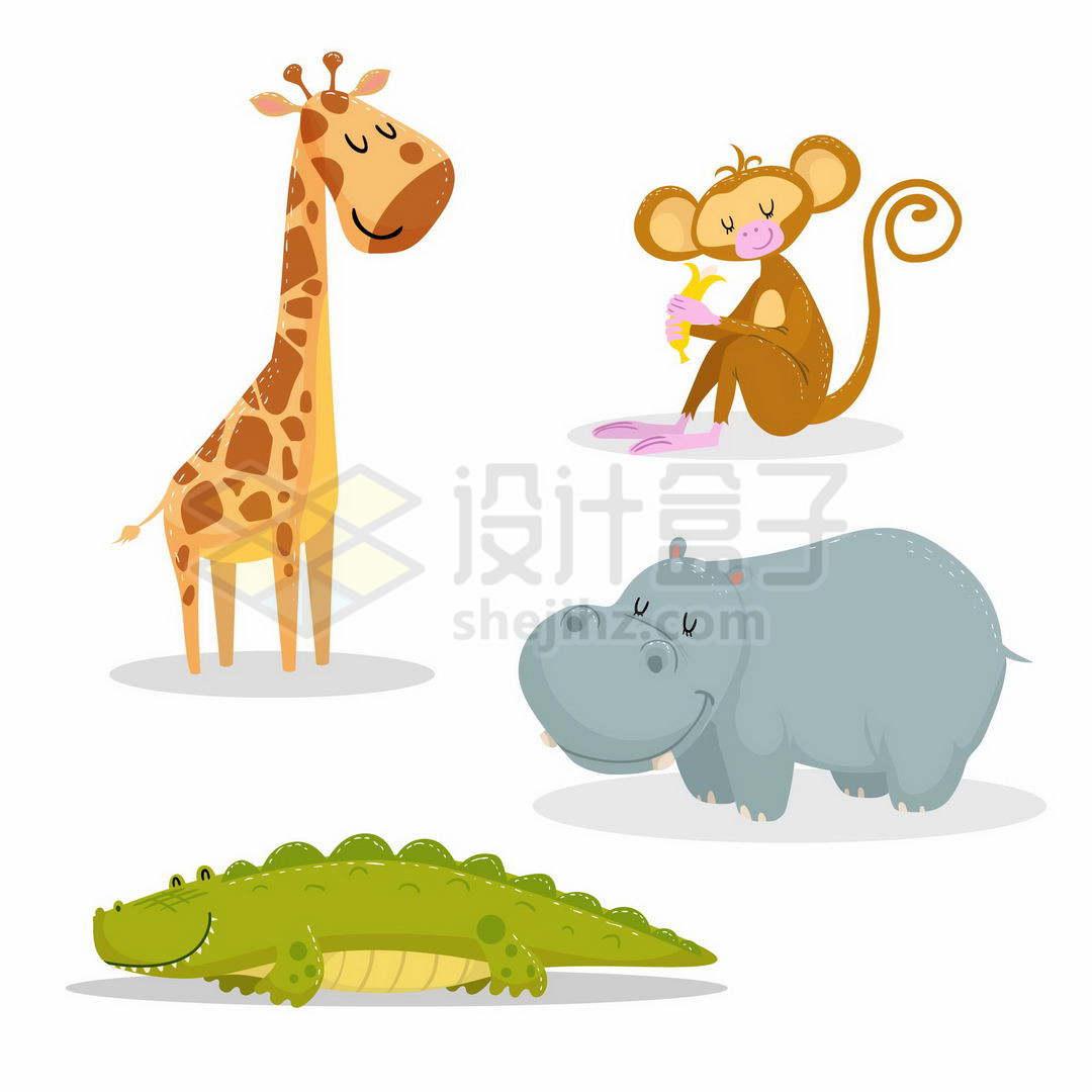 超可爱的卡通长颈鹿猴子河马和鳄鱼1470986矢量图片免抠素材