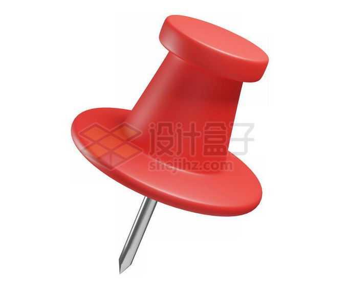 3D立体风格卡通图钉红色按钉模型1366278免抠图片素材