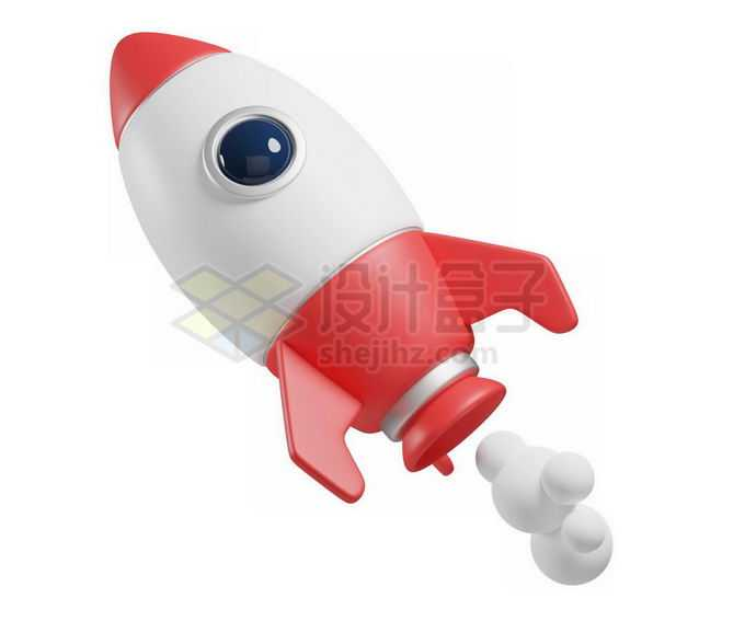 红白色相间的3D立体风格卡通火箭模型5726751免抠图片素材