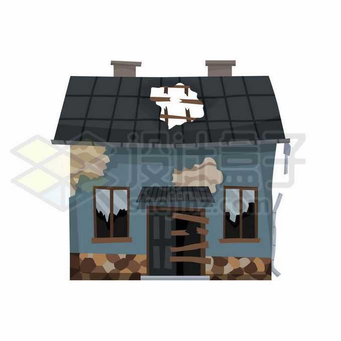 一栋歪歪扭扭破败不堪的房子1929646矢量图片免抠素材免费下载