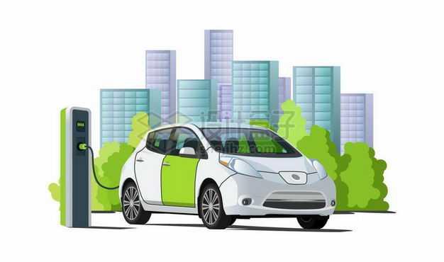远处的城市天际线和近处正在充电桩上充电的电动汽车新能源7240082矢量图片免抠素材