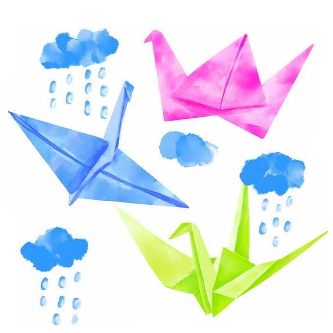 蓝色的乌云和千纸鹤水彩画插画1553480免抠图片素材
